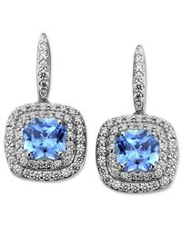 Arabella | Metallic Blue And White Swarovski Zirconia Cushion Cut Earrings (4-9/10 Ct. T.w.) | Lyst