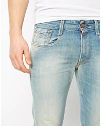 Replay - Blue Jeans Anbass Slim Fit Bleached Distressed for Men - Lyst