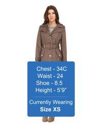 Calvin Klein - Brown Single Breasted Coat W/ Hardware Detail - Lyst