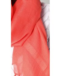 Love Quotes - Pink Knotted Tassel Linen Scarf - Lyst