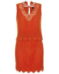 TOPSHOP | Orange Crochet Overlay Dress | Lyst