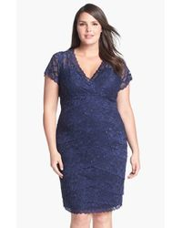 Marina - Blue Tiered Lace Dress - Lyst