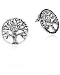 Aeravida | Metallic Beautiful Tree Of Life Sterling Silver .925 Post Earrings | Lyst