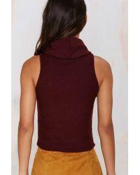Nasty Gal - Purple Glamorous Neck To Neck Crop Turtleneck - Burgundy - Lyst