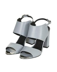 TOPSHOP - Gray Raff Metal Toe Sandals - Lyst