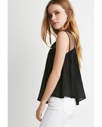 Forever 21 | Black Embroidered Trapeze Top | Lyst