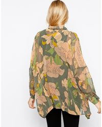ASOS - Multicolor Blouse In Vintage Bird And Floral Print - Lyst
