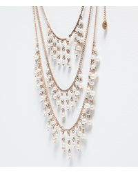 Zara | Metallic Back Necklace With Pearls | Lyst