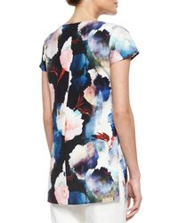 St. John - Multicolor Shadow Rose Print Stretch Silk Shirt - Lyst