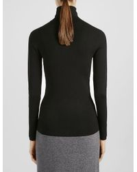 JOSEPH - Black Silk Stretch Roll Neck Sweater - Lyst