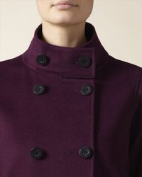 Jaeger - Purple Wool Cashmere Funnel Neck Coat - Lyst