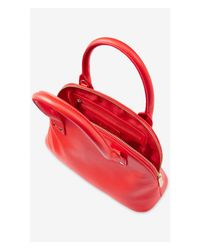 Express - Red Studded Bowler Bag - Lyst
