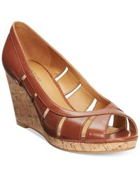 Nine West - Brown Jumbalia Platform Wedge Sandals - Lyst