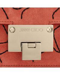 Jimmy Choo - Rebel Soft/s Agate And Black Wave Stitch Embroidered Suede Shoulder Bag - Lyst