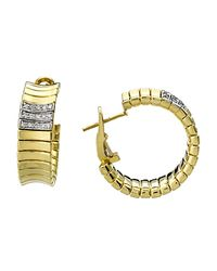 Chimento | Metallic 18k Yellow & White Gold Supreme Collection Ridge Arc Hoop Earrings With Diamonds | Lyst