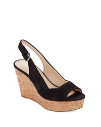 Nine West | Black Caballo Leather Platform Wedge Sandals | Lyst