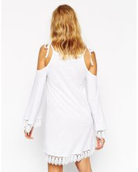 ASOS - White Petite Cold Shoulder Wizard Sleeve Dress With Lace Trim - Lyst