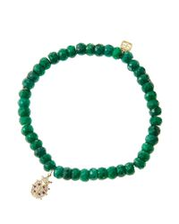 Sydney Evan - Green 6Mm Faceted Emerald Beaded Bracelet With 14K Gold/Rhodium Diamond Small Evil Eye Charm (Made To Order) - Lyst