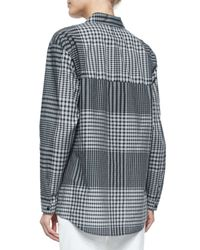 Lafayette 148 New York - Multicolor Blanchette Long-sleeve Check Blouse - Lyst