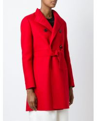 Valentino - Red Belted Coat - Lyst