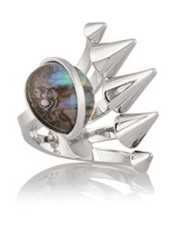 Fendi - Metallic Silver-Plated Mother Of Pearl Ring - Lyst