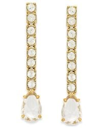 Kate Spade | Metallic Gold-tone Crystal Pavé Linear Earrings | Lyst