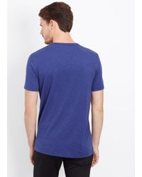 Vince - Blue Slub Cotton Short Sleeve V-neck Tee for Men - Lyst