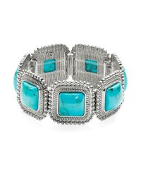 R.j. Graziano | Blue Square Cabochon Stretch Bracelet | Lyst