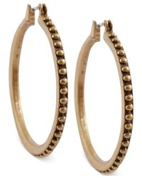 Lucky Brand | Metallic Gold-tone Dot Hoop Earrings | Lyst