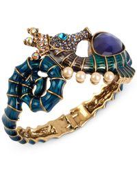 Betsey Johnson - Multicolor Gold-tone Seahorse Hinged Bangle Bracelet - Lyst