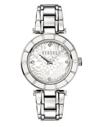 Versus - Metallic Logo White Geometric Dial Stainless Steel Ladies Watch - Lyst