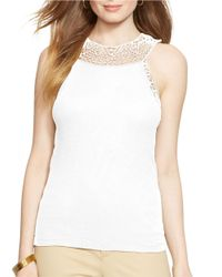 Lauren by Ralph Lauren | White Crocheted Tank Top | Lyst