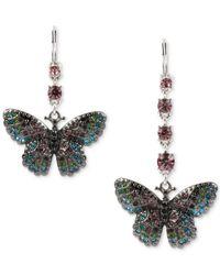 Betsey Johnson - Metallic Silver-tone Multi-crystal Pavé Butterfly Mismatch Drop Earrings - Lyst