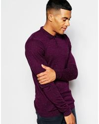 ASOS - Purple Muscle Fit Knitted Polo In Cotton for Men - Lyst