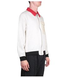 J.W.Anderson - White Cotton And Leather Bomber Jacket for Men - Lyst
