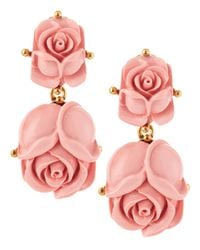 Oscar de la Renta - Pink Double Rose Clipon Earrings Blush - Lyst