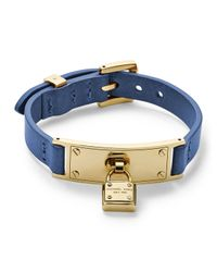 Michael Kors - Metallic Leather Wrap Padlock Bracelet Goldencobalt - Lyst