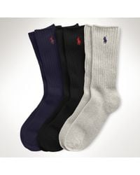 Polo Ralph Lauren | Multicolor Crew Sock 3-pack Set for Men | Lyst