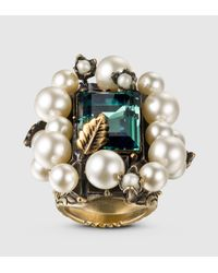Gucci - Multicolor Ring With Crystal And Glass Pearls - Lyst