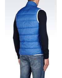 Armani Jeans | Blue Down Gilet In Technical Fabric for Men | Lyst