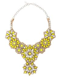 Valentino | Yellow Fluoro Flowers Crystal and Satin Bib Necklace | Lyst