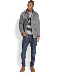 Vince - Gray Neoprene Peacoat for Men - Lyst