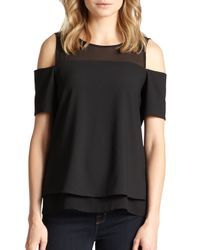 Cooper & Ella | Black Lily Cold-shoulder Sheer-yoke Top | Lyst
