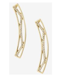 Express - Metallic Rhinestone Zigzag Drop Earring - Lyst
