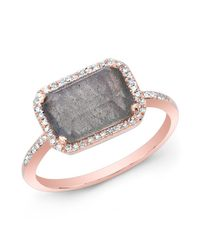 Anne Sisteron | Gray 14kt Rose Gold Labradorite Diamond Chic Ring | Lyst