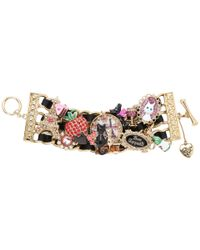 Betsey Johnson | Multicolor Antique Goldtone Paris Cat Multicharm Wide Toggle Bracelet | Lyst