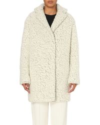 KENZO - White Textured Wool-blend Coat - Lyst