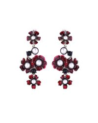 Oscar de la Renta - Metallic Swarovski Crystal Pearl & Resin Floral Earrings - Lyst
