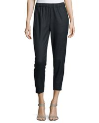 Theory - Gray Thorene Flannel Cropped Pull-on Pants - Lyst