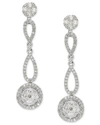 Macy's | Metallic Diamond Circle Drop Earrings In 14k White Gold (1 Ct. T.w.) | Lyst